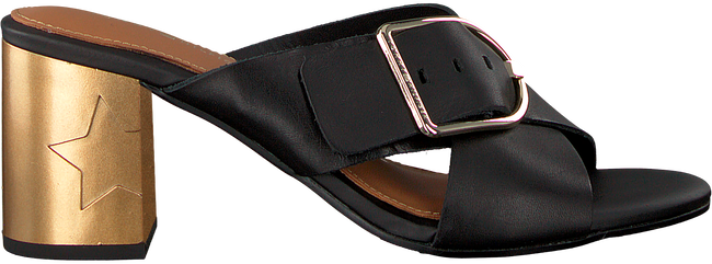 Zwarte TOMMY HILFIGER Slippers MID HEEL MULE OVERSIZED BUCKLE - large