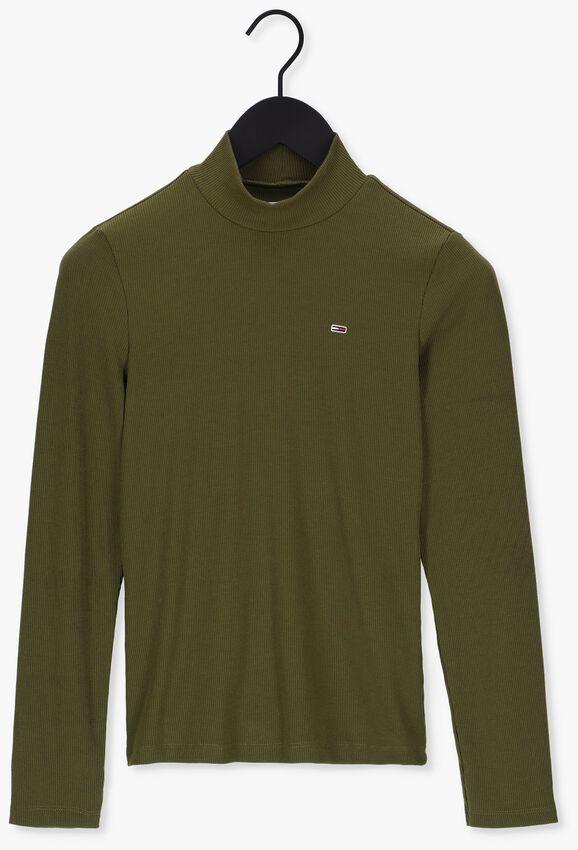 Donkergroene TOMMY JEANS T-shirt TJW RIB MOCK NECK LONGSLEEVE - larger