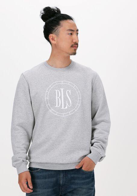 Lichtgrijze BLS HAFNIA Sweater COMPASS CHEST APPLIQUE CREWNEC - large