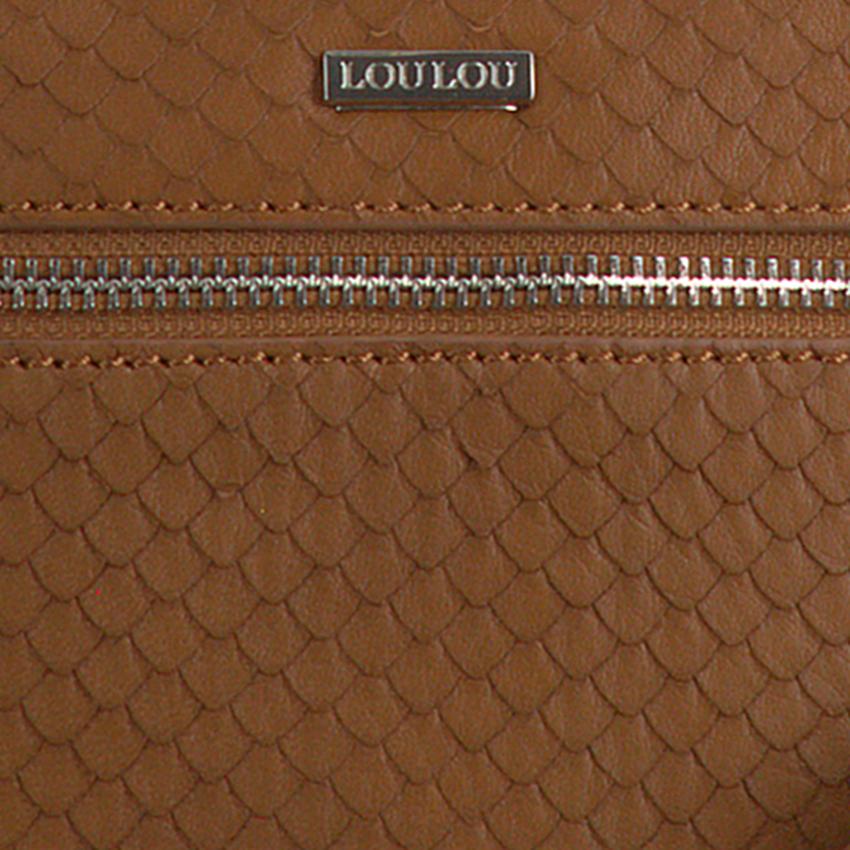 Cognac LOULOU ESSENTIELS Schoudertas 01POUCH SCALES  - larger