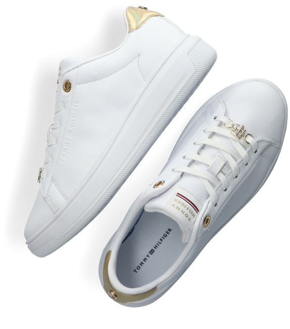 Witte TOMMY HILFIGER Lage sneakers METALLIC LEATHER CUPSOLE  - large