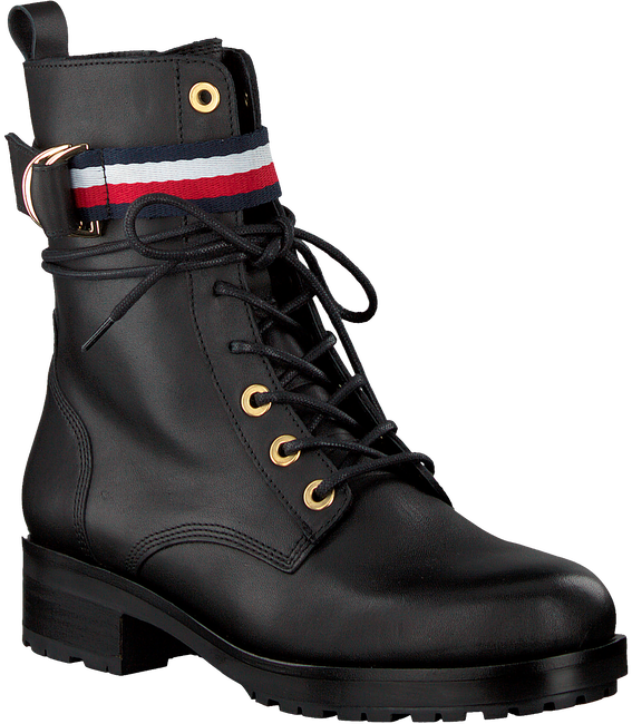 Zwarte TOMMY HILFIGER Veterboots CORPORATE RIBBON  - large