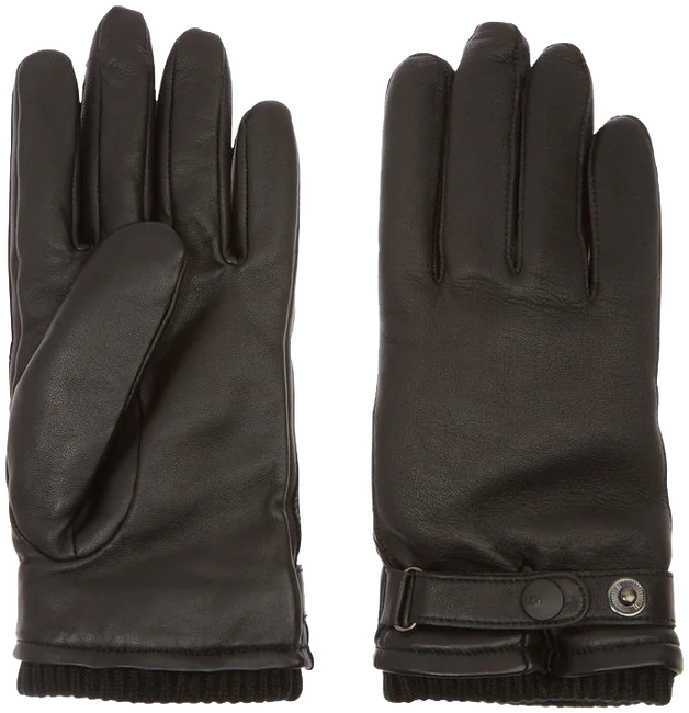 Zwarte UGG Handschoenen LEATHER BELTED GLOVE - large