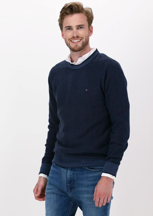 Donkerblauwe TOMMY HILFIGER Trui 3 TONE STRUCTURE CREW NECK - larger