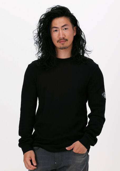 Zwarte CALVIN KLEIN Sweater MONOGRAM BADGE WAFFLE LS TEE  - large