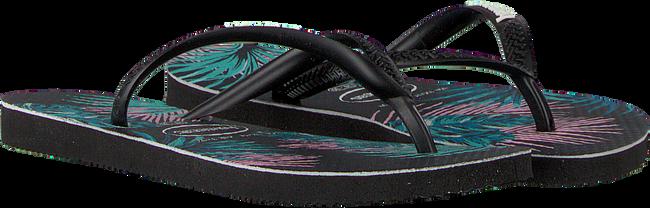 Zwarte HAVAIANAS Slippers KIDS SLIM TROPICAL FLORA  - large