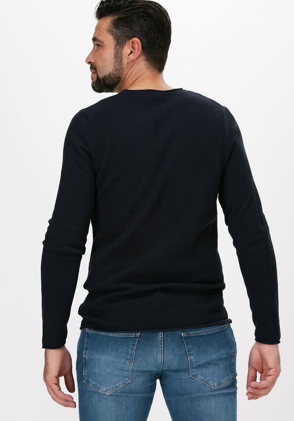 Donkerblauwe SELECTED HOMME Trui ROCKY CREW NECK B WEBS - larger
