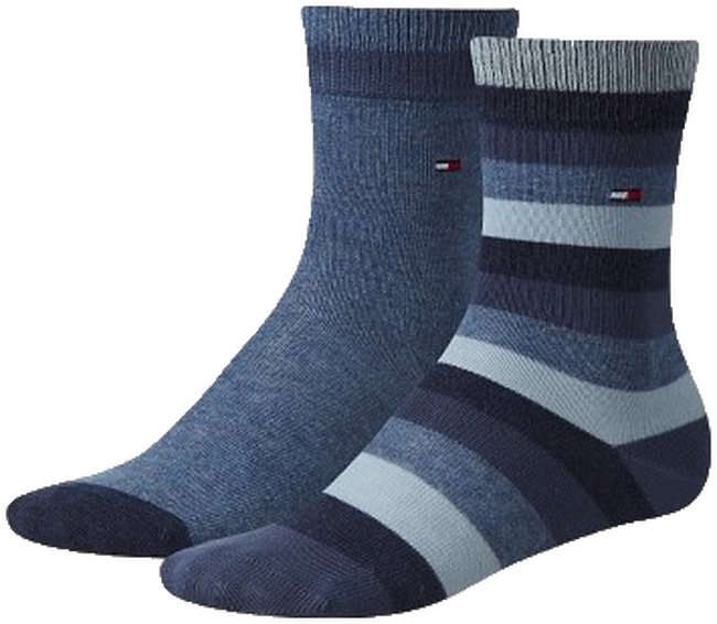 Blauwe TOMMY HILFIGER Sokken TH KIDS BASIC STRIPE SOCK 2P - large