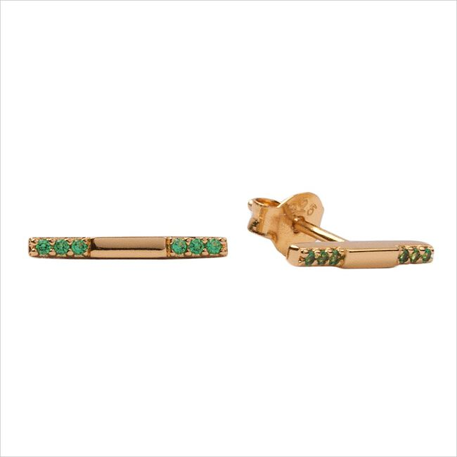 Gouden ATLITW STUDIO Oorbellen BLISS EARRINGS BAR GREEN EMERA  - large