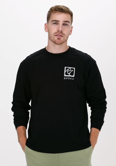 Zwarte EDWIN T-shirt HANANI TS LS BLACK  - large