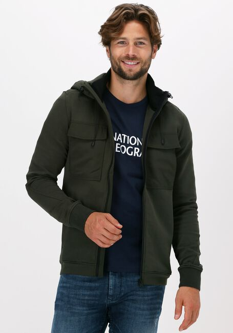 Groene CAST IRON Vest HOODED SLIM FIT COTTON INTERLO - large