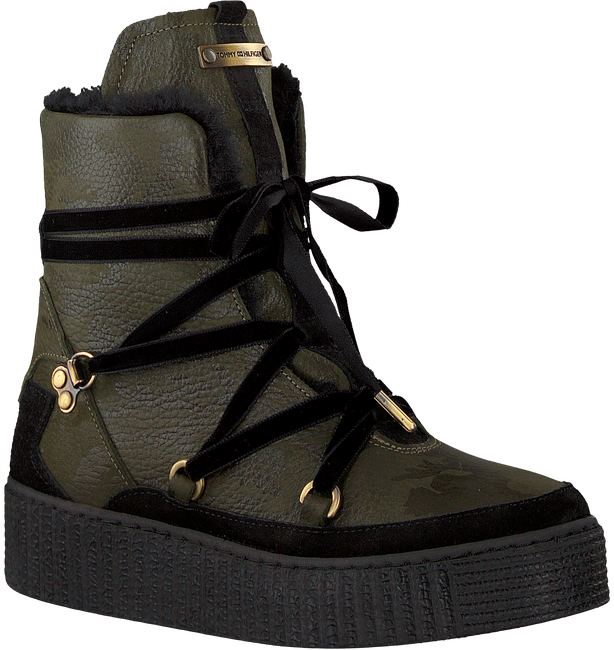 Groene TOMMY HILFIGER Enkelboots COZY WARMLINED LEATHER BOOT - large