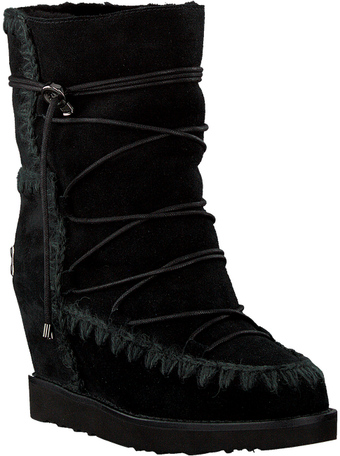 Zwarte MOU Vachtlaarzen ESKIMO FRENCH TOE LACE UP - large