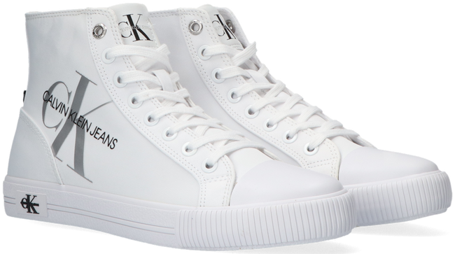 Witte CALVIN KLEIN Hoge sneaker VULCANIZED HIGH LACE UP - large