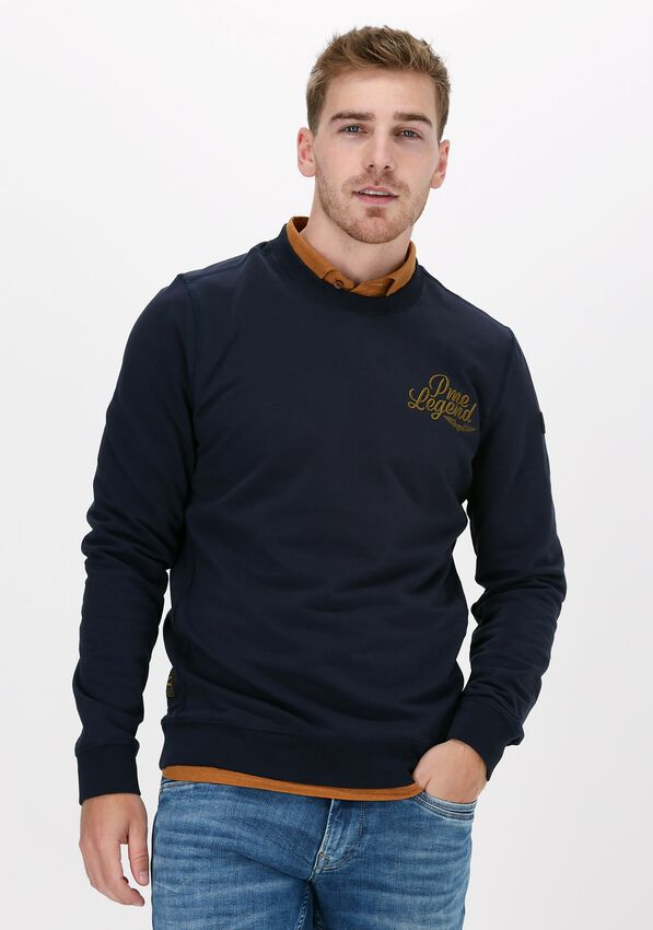 Blauwe PME LEGEND Sweater LONG SLEEVE R-NECK FINE TERRY - larger