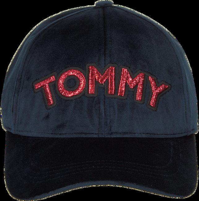 Blauwe TOMMY HILFIGER Pet PATCH CAP VELVET  - large