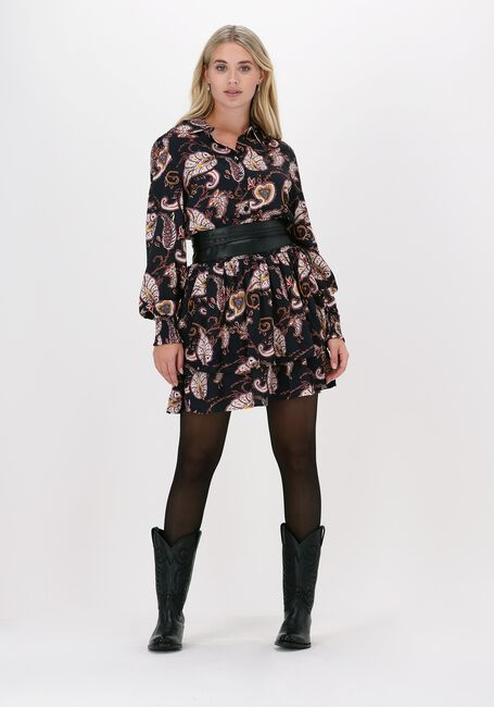 Zwarte COLOURFUL REBEL Mini jurk HARLEY PAISLEY MINI SMOCKED SH - large