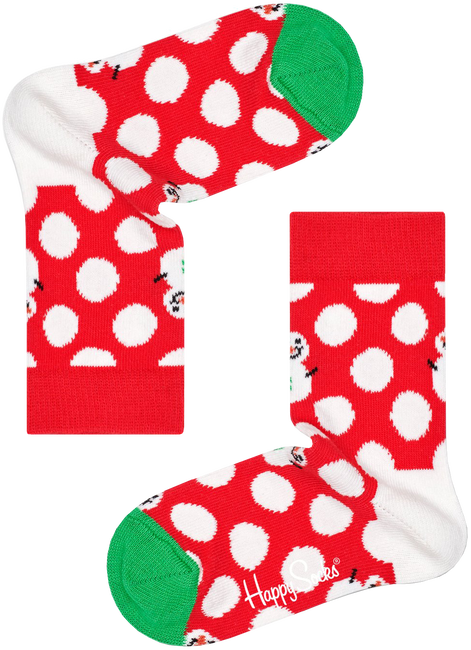 Rode HAPPY SOCKS Sokken BIG DOT SNOWMAN  - large