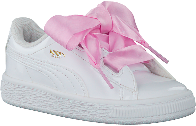 Witte PUMA Sneakers BASKET HEART PATENT KIDS  - large