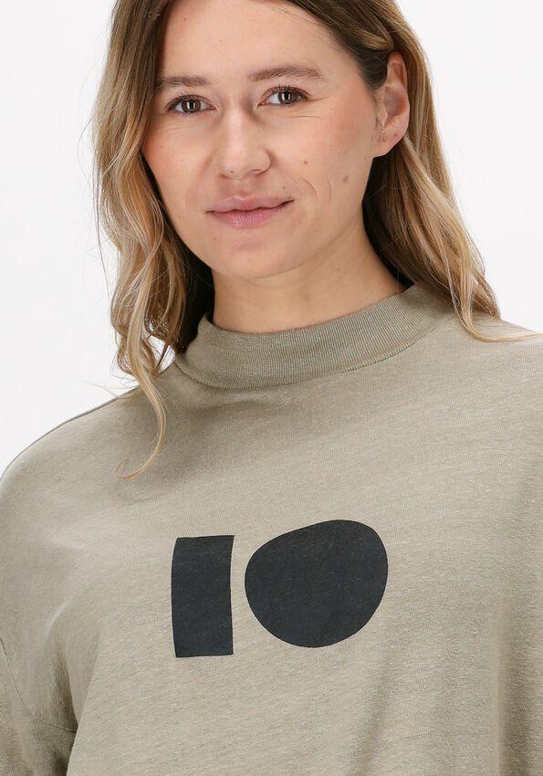 Groene 10 DAYS T-shirt HIGH NECK TEE LINEN - larger