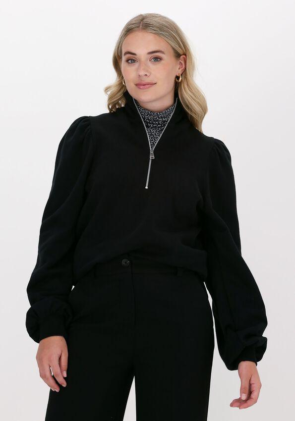 Zwarte GESTUZ Sweater NANKITA GZ ZIPPER SWEATSHIRT - larger