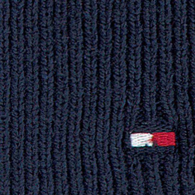 Blauwe TOMMY HILFIGER  Muts FLAG KNIT BEANIE  - large