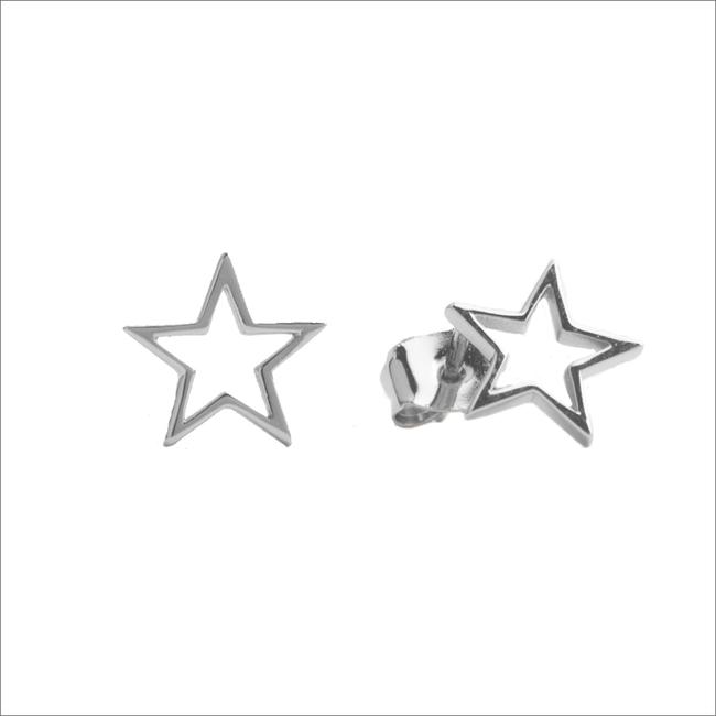 Zilveren ATLITW STUDIO Oorbellen PARADE EARRINGS OPEN STAR - large