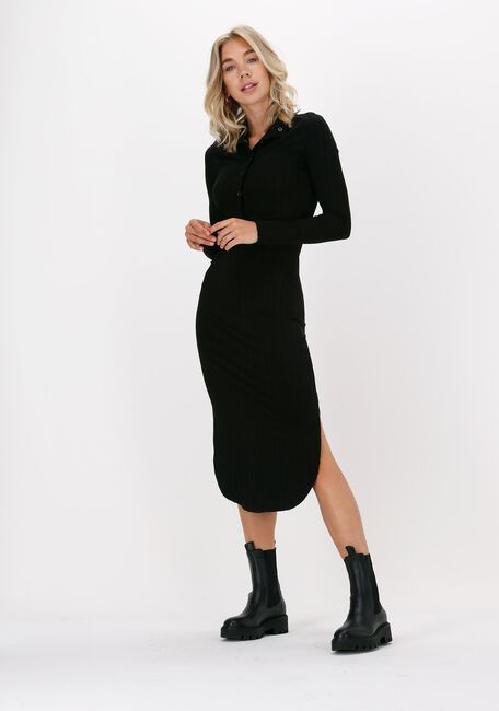 Zwarte JUST FEMALE Midi jurk ACROSS DRESS - large