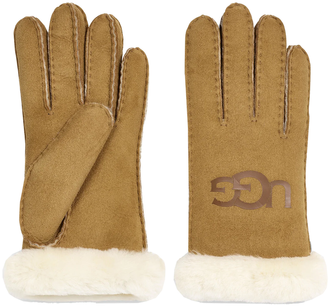 Bruine UGG Handschoenen SHEEPSKIN LOGO - large