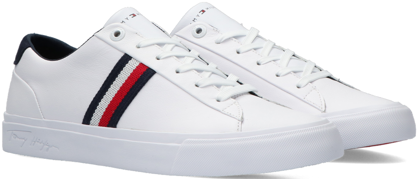 Witte TOMMY HILFIGER Lage sneakers CORPORATE LEATHER - larger