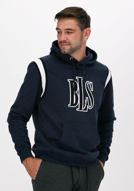 Donkerblauwe BLS HAFNIA Sweater OG PANEL LOGO HOODIE - large