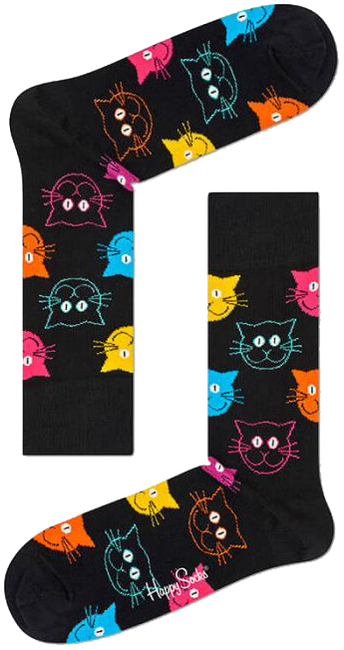 Zwarte HAPPY SOCKS Sokken CAT - large