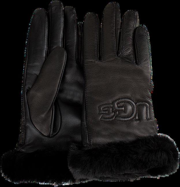 Zwarte UGG Handschoenen CLASSIC LEATHER LOGO GLOVE - large