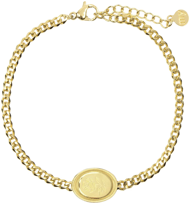 Gouden MY JEWELLERY Armband ARMBAND BEDEL OVAAL ROOS - large