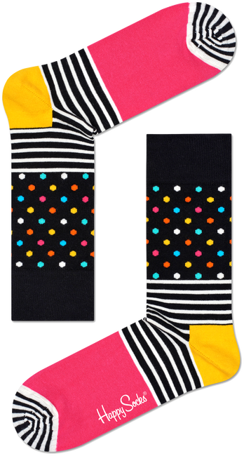 Zwarte HAPPY SOCKS Sokken STRIPES & DOT SOCK - large