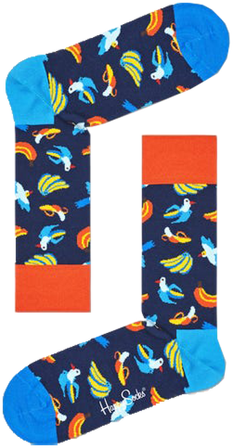 Blauwe HAPPY SOCKS Sokken BANANA BIRD  - large