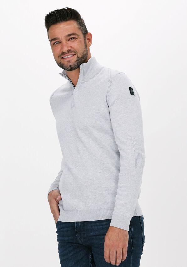 Lichtgrijze VANGUARD Sweater HALF ZIP COLLAR COTTON MELANGE - larger