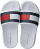 Witte TOMMY HILFIGER Badslippers FLAG PRINT POOL SLIDE  - small