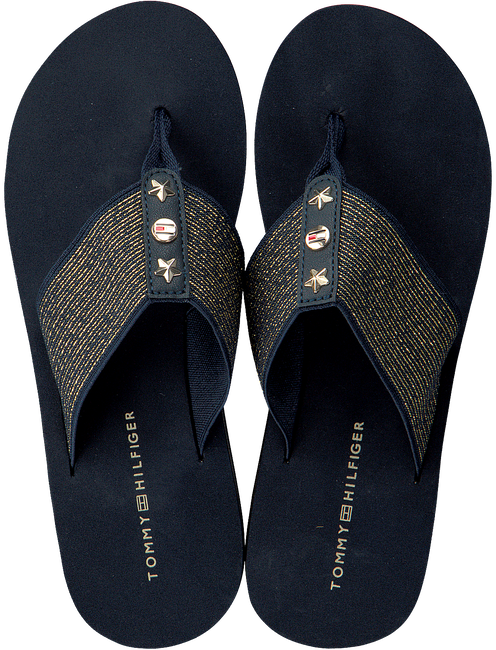 blauwe TOMMY HILFIGER Slippers ELEVATED METALLIC BEACH SANDAL  - large