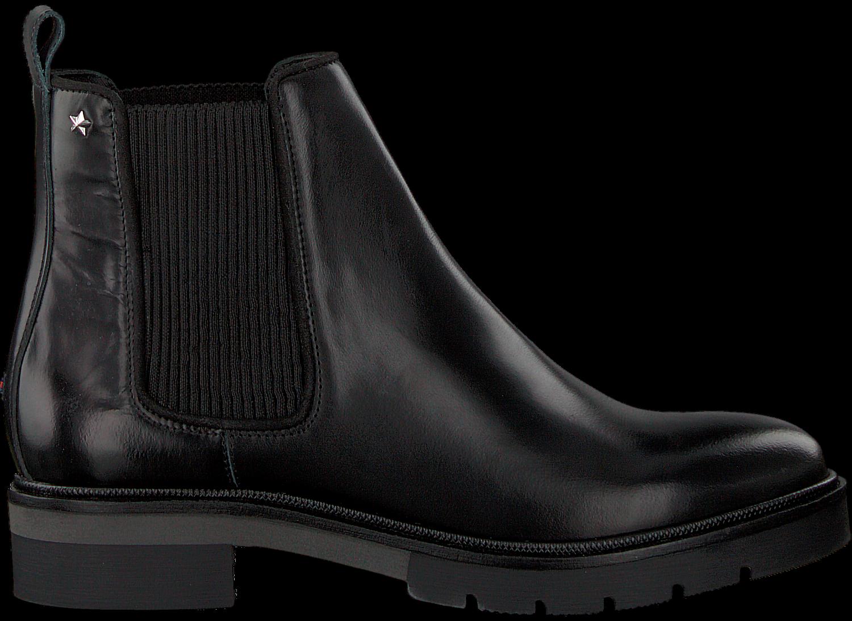 zwarte tommy hilfiger chelsea boots metallic leather. Black Bedroom Furniture Sets. Home Design Ideas