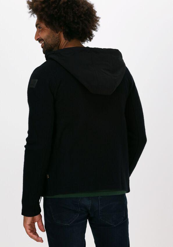 Zwarte PME LEGEND Vest HOODED JACKET BOILED WOOL CARD - larger