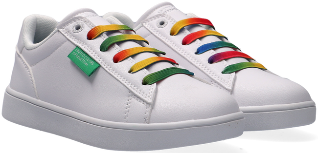 Witte BENETTON Lage sneakers LABEL MULTICOLOR LACES  - large