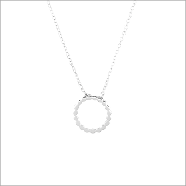 Zilveren ALLTHELUCKINTHEWORLD Ketting FORTUNE NECKLACE DOTTED CIRCLE - large