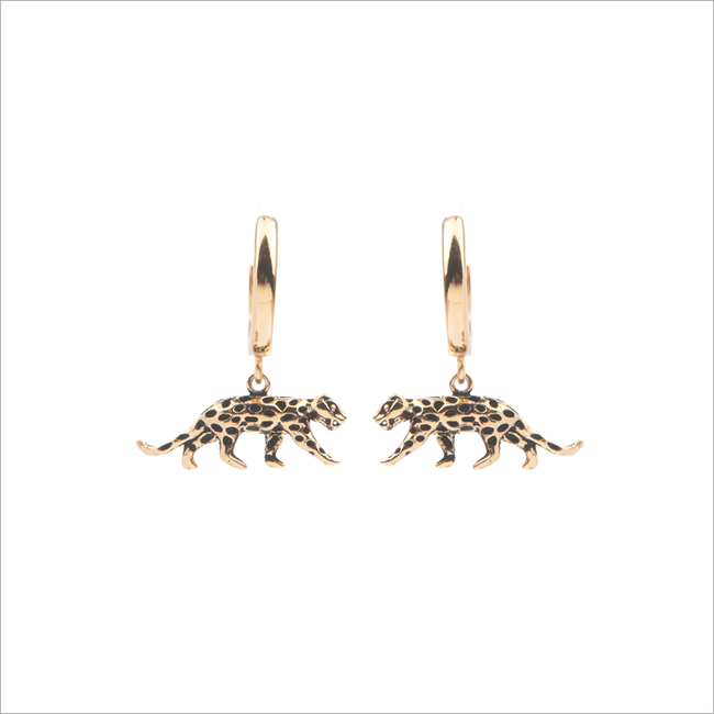 Gouden ATLITW STUDIO Oorbellen SOUVENIR EARRINGS LEOPARD - large