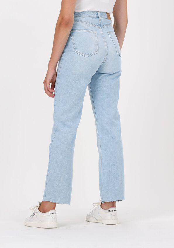Lichtblauwe NA-KD Straight leg jeans STRAIGHT HIGH WAIST RAW HEM JE  - larger