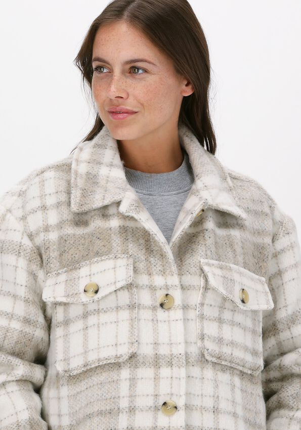 Beige NA-KD Vest BRUSHED CHECKED CHEST POCKET L  - larger