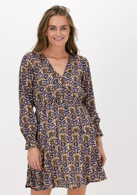 Paarse SCOTCH & SODA Mini jurk PRINTED LONG-SLEEVED MINI-DRES  - large