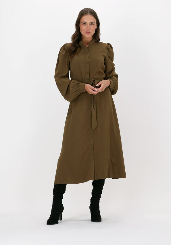 Groene NA-KD Midi jurk BALLON SLEEVE MIDI DRESS - larger