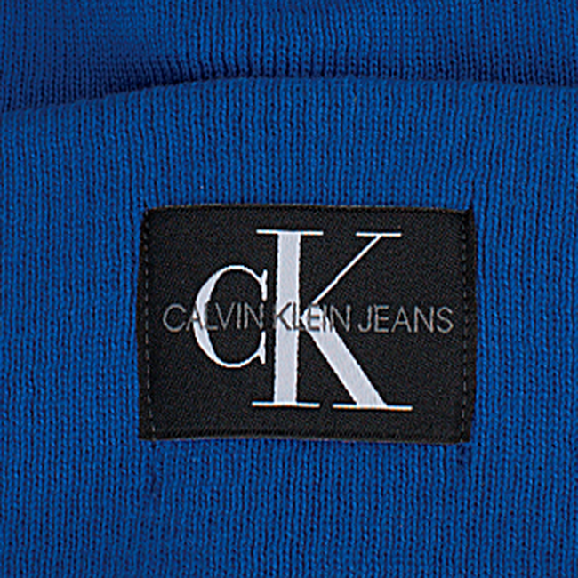 Blauwe CALVIN KLEIN  Muts J MONOGRAM BEANIE M - large