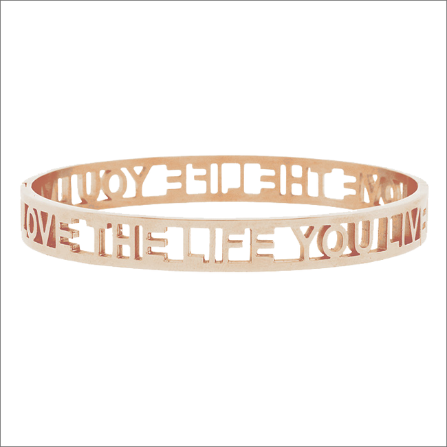Gouden MY JEWELLERY Armband LOVE THE LIFE YOU LIVE OPEN - large